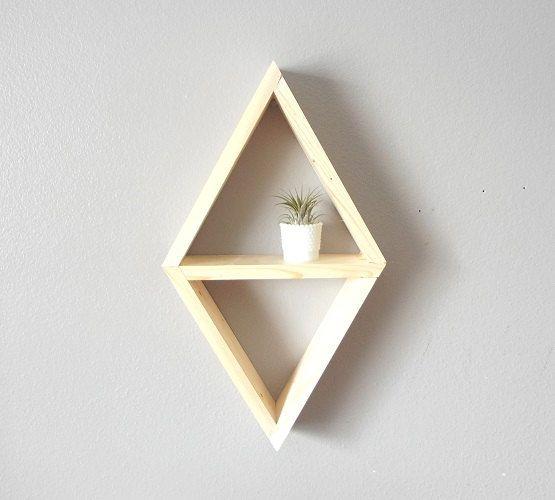 Geometric Shelf . Diamond Shelving . Handmade Triangle Shelf . Rustic . Modern on Etsy, 20,82€