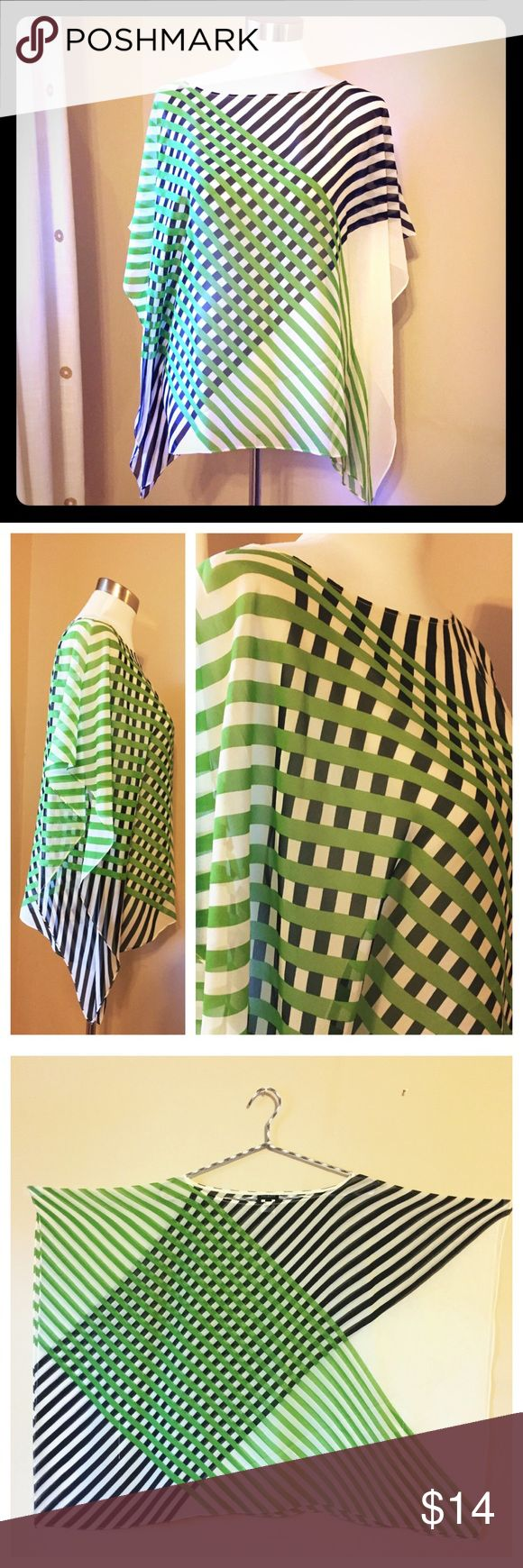 "Talbots Silk Sheer Striped Dolman Batwing Top XS/S Talbots Silk Sheer Striped Blue Green Coverup Dolman Batwing Top XS / S NWOT   Total size • 36"" width  • 25"" length  Bust 22"" 100% silk Talbots Tops"