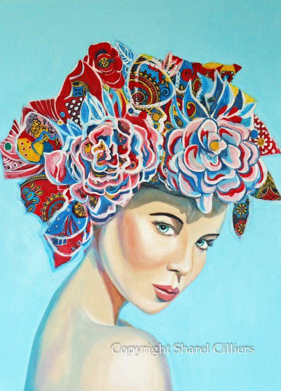 Original Women with flowers in hair art original by SharelCilliers