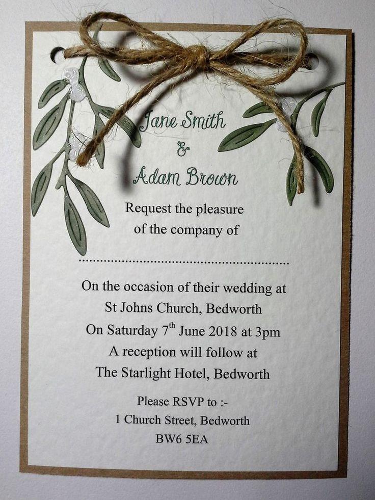 Winter MISTLETOE KISSES Wedding POSTCARD INVITATION :day/evening/any qty/60 cols | eBay
