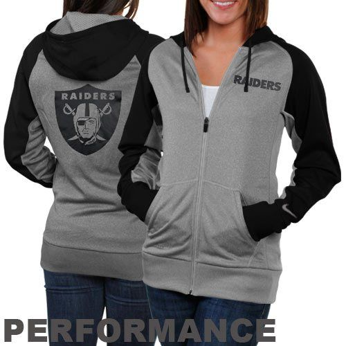 Nike Oakland Raiders Ladies Die-Hard Full Zip Performance Hoodie - Ash/Black