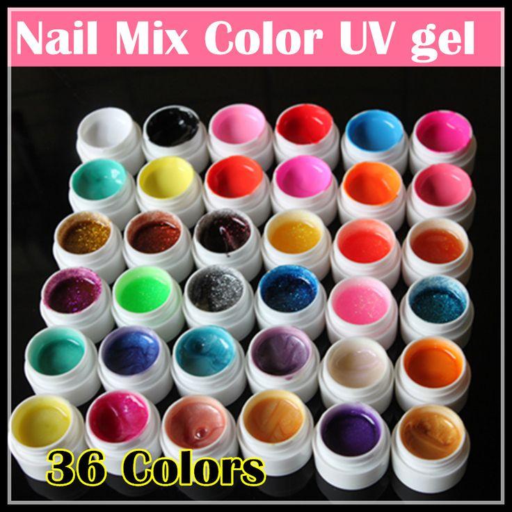 Professional 36 Mix cores Nail Art Gel UV Pure + Glitter pó + brilho colorido unhas de Gel UV Gel set com Nail Art escova alishoppbrasil