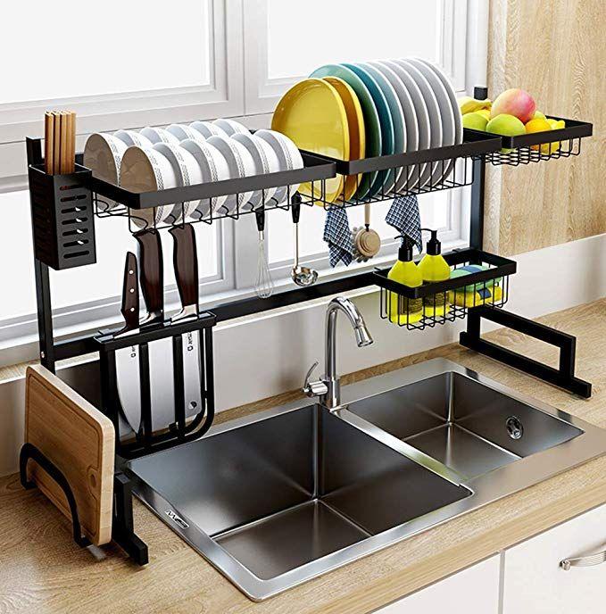 Amazon Com Dish Drainer Rack Holder Black Stainless Steel Kitchen