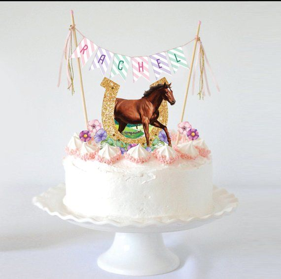Cool Printable Horse Cake Topper Horse Party Supplies Horseshoe Personalised Birthday Cards Sponlily Jamesorg