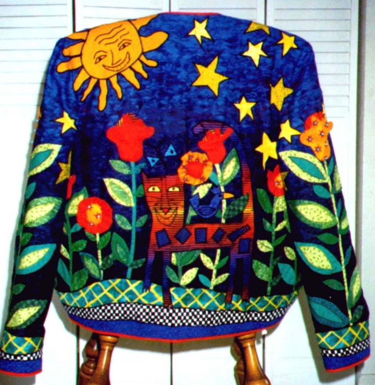 Kitty Kat Jungle jacket- machine and hand applique with embellished 3 d flowers