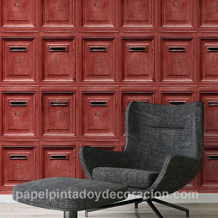 Papel pintado vinílico buzones de madera rojo PDA8307453