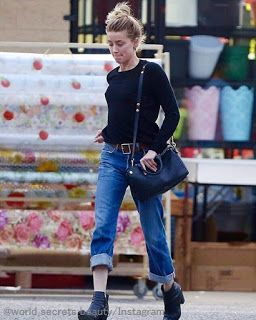 Celebrity Style   海外セレブ最新ファッション情報 : 【アンバー・ハード】めずらしくお団子頭!ロールアップのデニムスタイルで妹とお買い物!