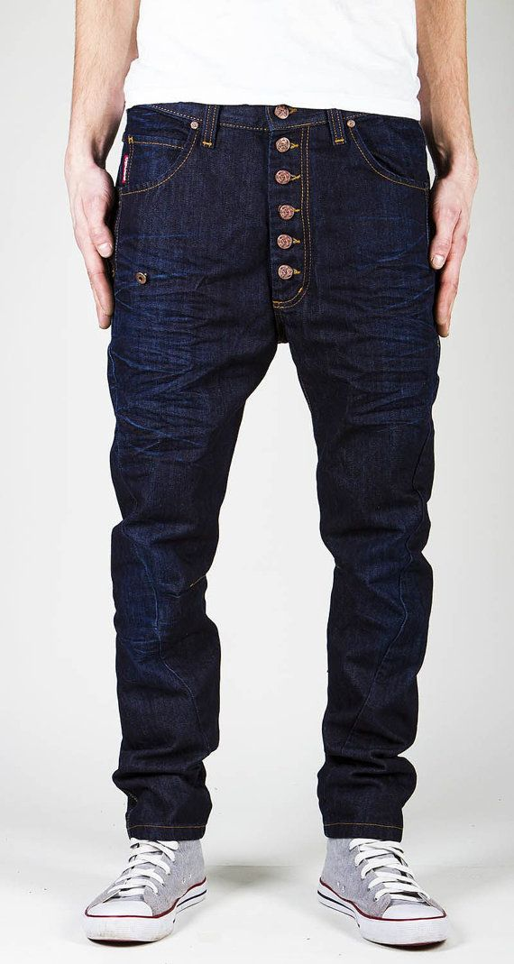 Raw denim Jeans for men / Urban punk men pants / dark blue men jeans on Etsy, $130.00