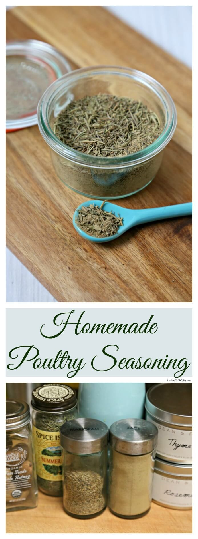 This Homemade Poultry Seasoning from CookingInStilettos.com is so easy to whip up from spices you probably already have on hand in your pantry. This is a must this holiday season! ~ http://cookinginstilettos.com