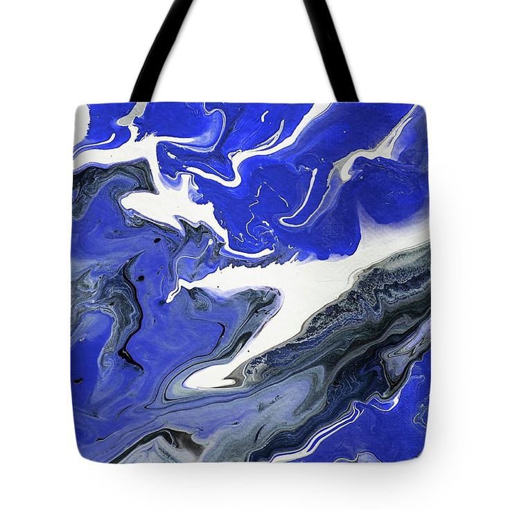 The Rivers Of Babylon Fragment 1.  Abstract Fluid Acrylic Painting Tote Bag by Jenny Rainbow.  The tote bag is machine washable, available in three different sizes, and includes a black strap for easy carrying on your shoulder.  All totes are available for worldwide shipping and include a money-back guarantee.