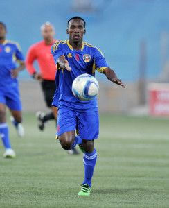 Sabelo Gamedze of Swaziland during the 2016 Cosafa Cup Semifinal  match between South Africa and Swaziland at Sam Nujoma Stadium in Windhoek Namibia on 22 June, 2016 ©Muzi Ntombela/BackpagePix