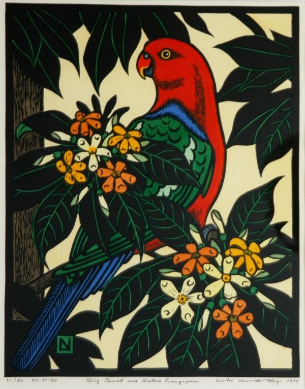 Leslie van der Sluys - 'King Parrot and Native Frangipani,' 1988