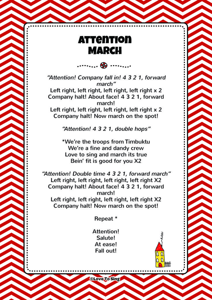 Attention March. Download the FREE lyrics PDF from our website! http://www.childrenlovetosing.com/kids-song/attention-march/