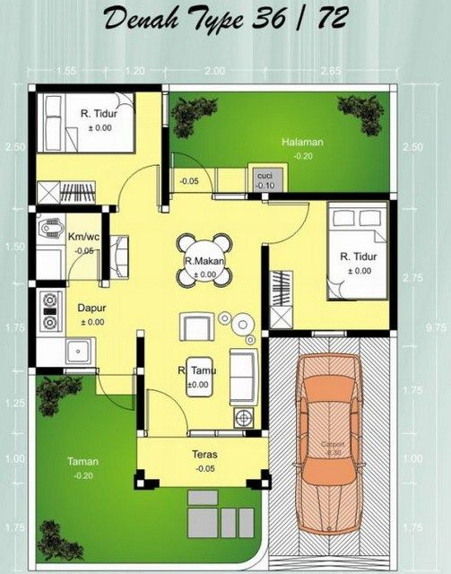 Desain Rumah Minimalis Dapur Di Depan  contoh denah rumah minimalis type 36 72 rumah minimalis