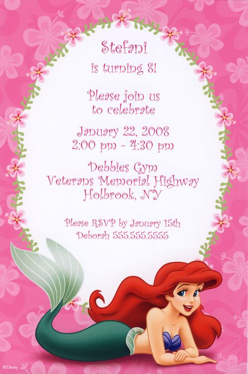 235 best ariel party images on pinterest | birthday party ideas, Birthday invitations