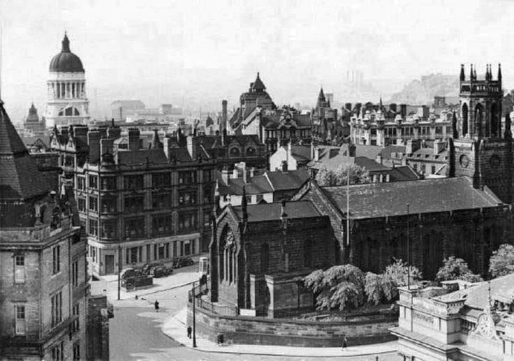 Nottingham's Holy Trinity Church, Trinity Square, adjacent to Milton Street. This view is across Milton Street, over the city towards Nottingham Castle, from the clock tower of Victoria Railway Station. The church was demolished in 1958 to make way for a multi-storey car park, which was pulled down around 2006 and replaced with shops and a new car park. Photo from Ed Dexter.