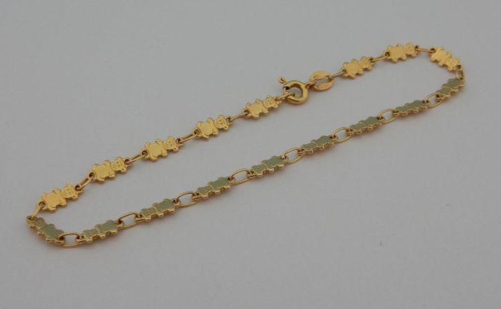 Beautiful girls 18k gold bracelet with bears ...