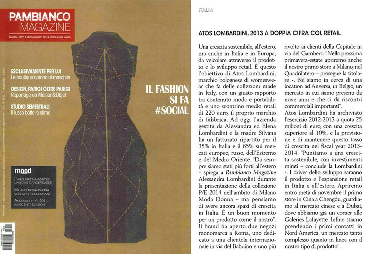 PAMBIANCO MAGAZINE Italia - October issue n.13-2013 _ Pag. 20: Brand review & editorial by Pambianco News _ #SS2014 #MFW #Milano #Retail