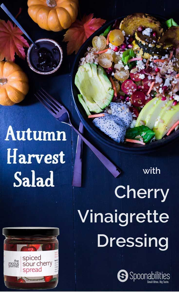 Cherry Vinaigrette Dressing Recipe on Autumn Harvest Salad with Pumpkin Honey Mustard and Roasted Garlic Cottonseed oil mixed in a mason jar. A perfect balance between sweetness and acidity. Great salad dressing for a salad with seasonal produce. Spoonabilities.com via @Spoonabilities