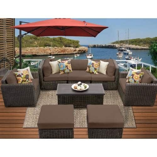 Miseno MPF-VNCE08C Mediterranean 8-Piece Aluminum Framed Outdoor Conversation Se (Cocoa (Brown)), Outdoor Décor (Upholstered)