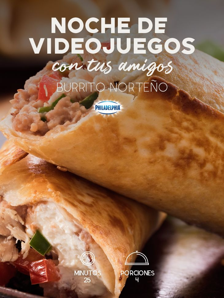 Con este rico Burrito norteño, tus amigos serán los más felices en la noche de videojuegos.   #quesocrema #queso #amigos #burrito #comida #cena #videojuegos #noche #jueves