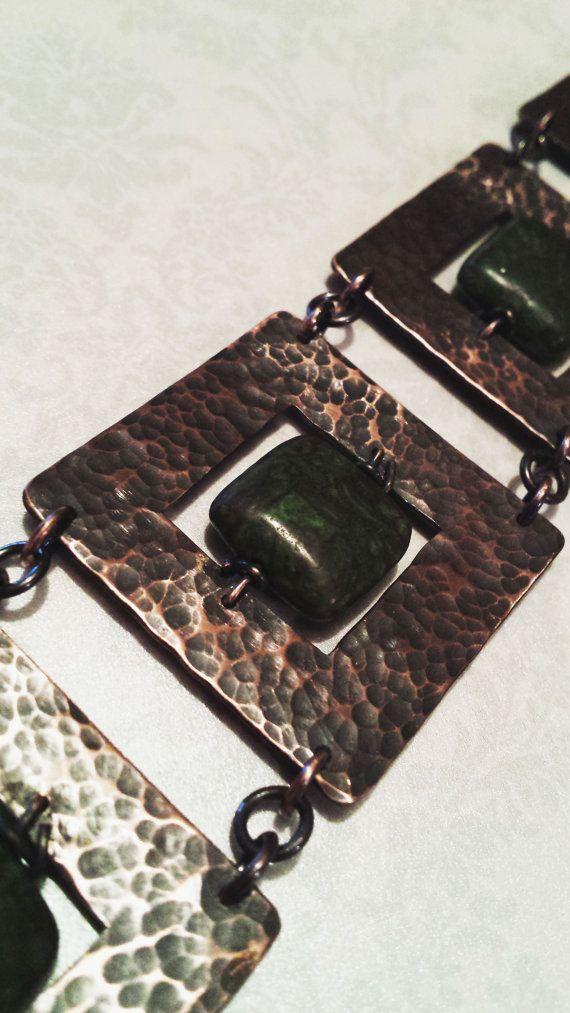 Antique copper link bracelet
