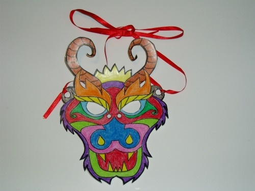 Made from a coloring page from Kiboomu http://www.kiboomu.com/2012/01/12/chinese-new-year-dragon-mask-coloring-page/