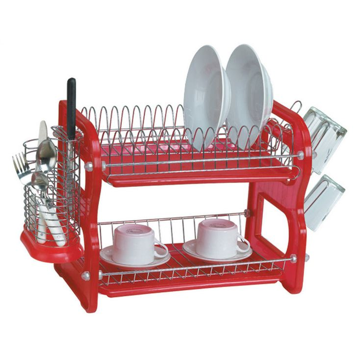 Euroware Two-Tier Dish Rack In Red - Beyond the Rack