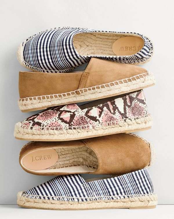 J.Crew women's plaid espadrilles, suede espadrilles and printed snakeskin leather espadrilles.