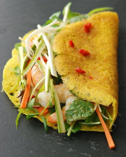 bánh xèo are simple, savory crepes made from rice flour and coconut milk.
