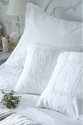 Beautiful White on White Monograms. http://www.annabelchaffer.com/