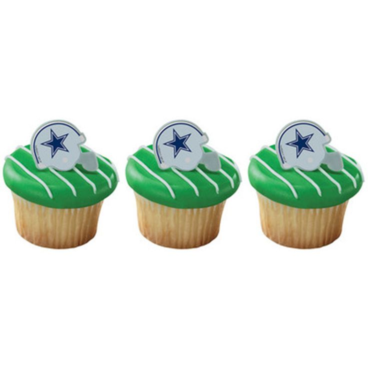 24 NFL Dallas Cowboys Football Helmet Cupcake Topper Rings