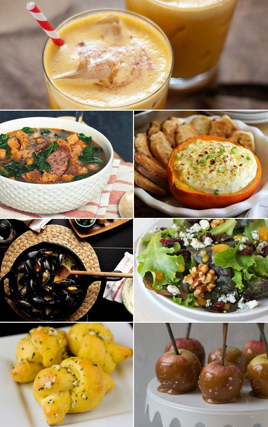 An adults-only Halloween menu: Pumpkin Pineapple Cocktail, Fall Squash and Goat Cheese Dip, Sausage, Kale, and Sweet Potato Soup, Autumn Salad With Pumpkin-Orange Dressing, Mussels With Almond Butter, Pumpkin Garlic Knots, and Bourbon-Spiked Caramel Apples