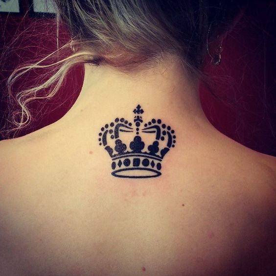 Stroked Crown Tattoo For Neck For Self Believers