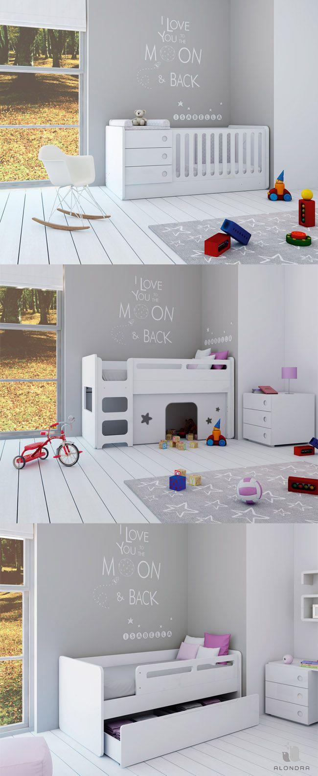 Descubre cómo se transforma y se adapta a tu bebé la cuna convertible UP ORBIT de Alondra. La única que se convierte en cabaña de juegos con cama alta. ¡Un sueño hecho realidad para cualquier niño!