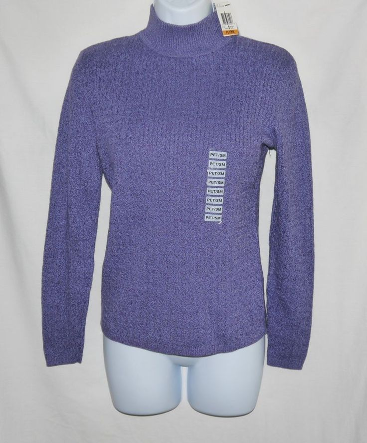 Karen Scott Mock Turtle Neck Sweater Women's Size Petite Small Purple Marl Nwt #KarenScott #TurtleneckMock