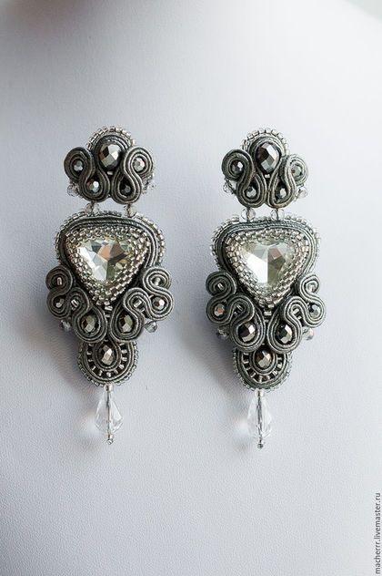 """Купить Люстры """"Снежная королева"""" - серый, macherrr, earrings, fashion, luxury, серьги, сережки длинные"""