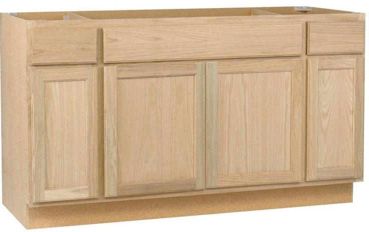 Long unfinished wood vanity base idea