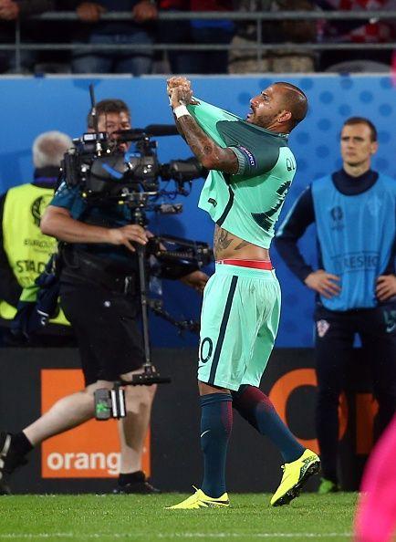 #EURO2016 Ricardo Quaresma of Portugal celebrates a goal during the Euro 2016 round of 16 football match between Croatia and Portugal at Stade BollaertDelelis...