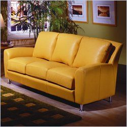 Canary Yellow Leather Sofa  -  furnitureanddesignideas.com