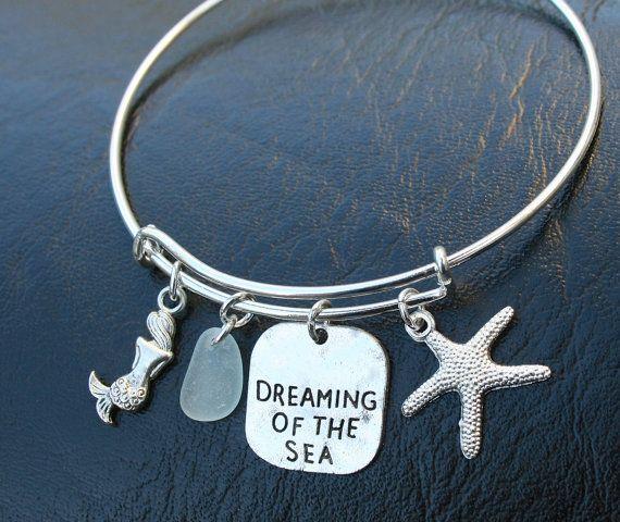 Alex and Ani Inspired Bracelet - Dreaming of the Sea Stamped Charm Bangle Bracelet - Genuine Aqua Sea Glass - Adjustable - Canadian Shop R4