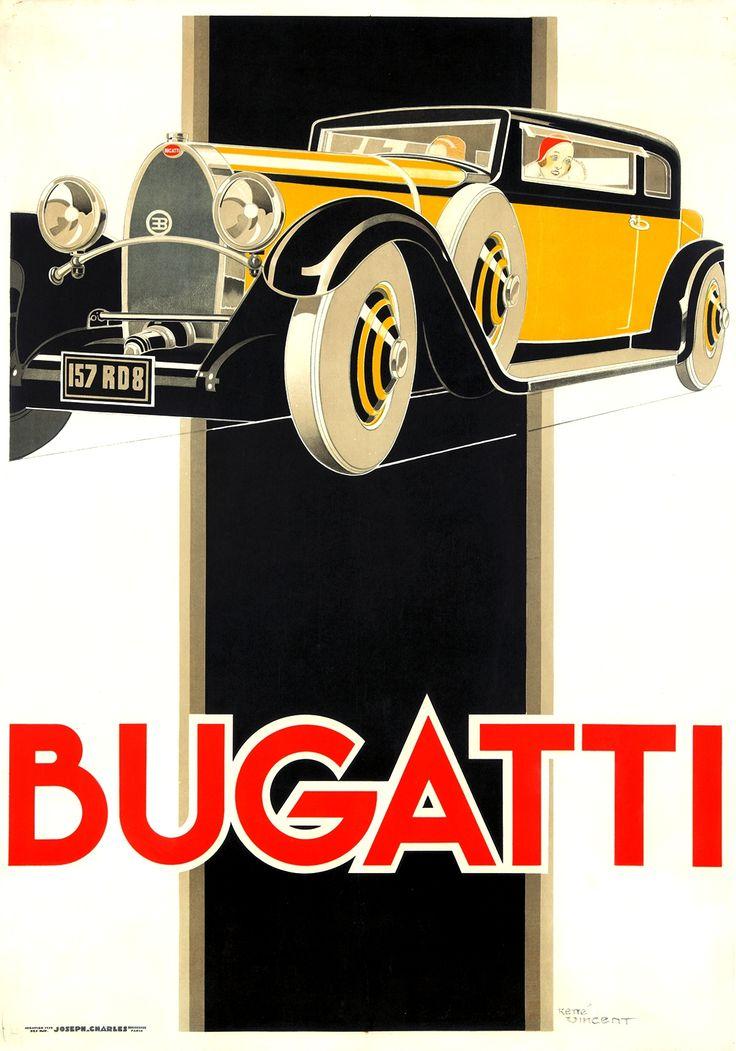 Bugatti poster by René Vincent (1930)