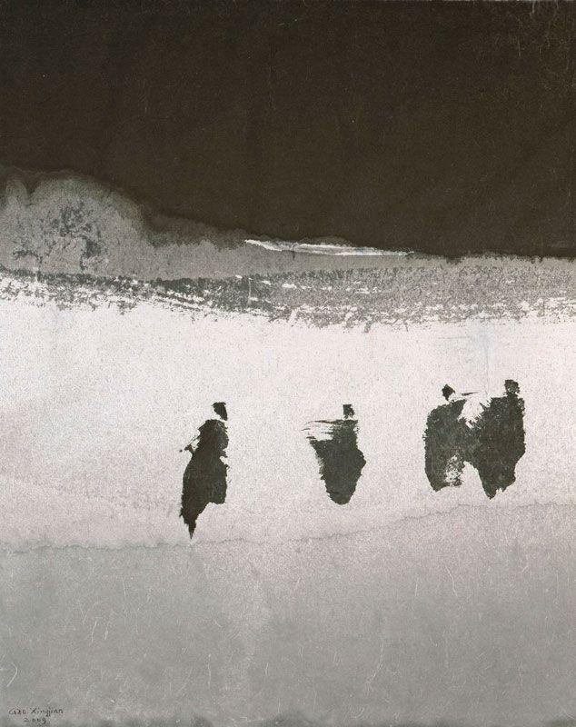 Gao Xingjian les marcheurs 2009, encre de chine sur papier                                                                                                                                                                                 Plus