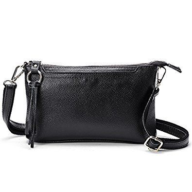 This leather crossbody shoulder bag in black is made from high-quality genuine leather. This crossbody purse features long leather tassel zipper pulls and gold-tone hardware.