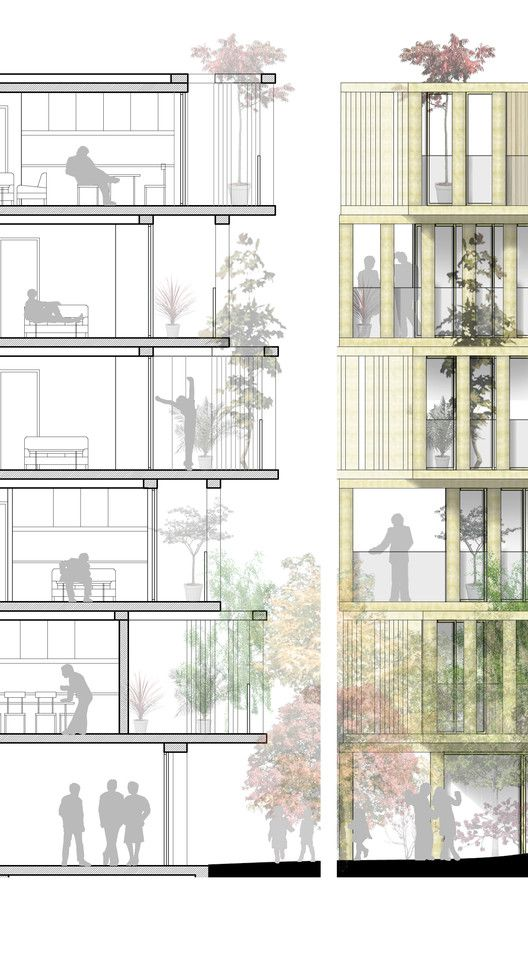 """URBAN AGENCY's Luxury Apartment Design """"Twists"""" French Planning Law,Section. Image Courtesy of URBAN AGENCY"""