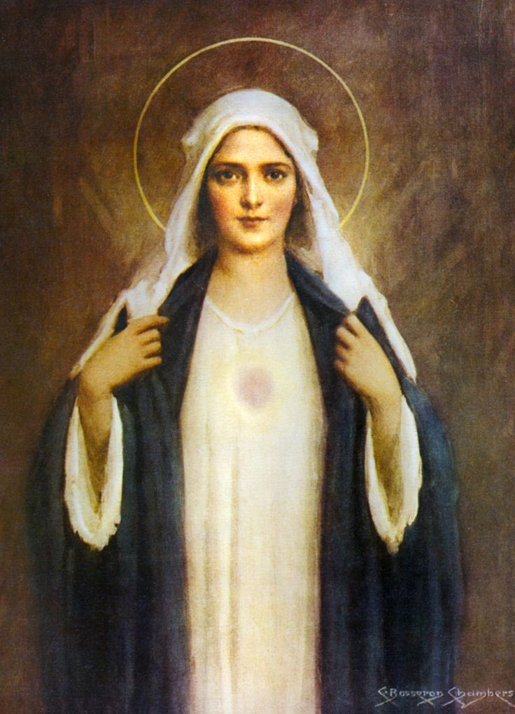 """Glossy full-color print of the Immaculate Heart of Mary image suitable for framing.""""Immaculate Heart of Mary"""" was created by American artist Charles Bosseron Chambers (1883-1964). A Full of Grace USA"""