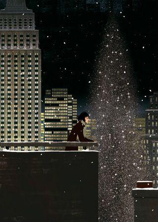 Snow balls: Illustration by Matthieu Forichon #illustration #Matthieu_Forichon #night #girl