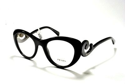 Glasses - Prada Women's Eyewear 06QV 1AB1O1 49 Black Cat Eye Baroque Eyeglass Frames