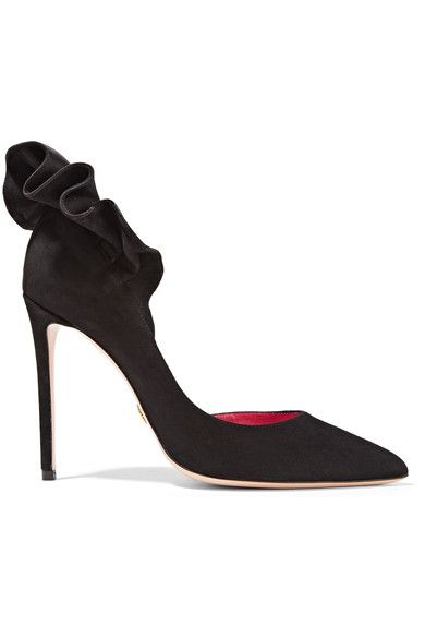Heel measures approximately 100mm/ 4 inches Black suede Slip on Made in ItalySmall to size. See Size & Fit notes.