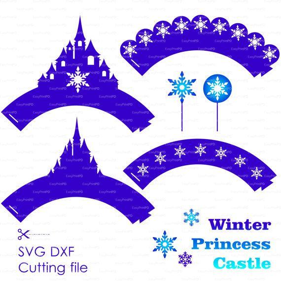 Fiocco di neve Cupcake Topper e Wrapper SVG DXF congelato file di taglio invernale, partito die taglio per Silhouette Cameo EasyCutPrintPD nero